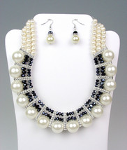 ELEGANT Dressy Creme Pearls Black Crystals Bridal Drape Necklace Earring... - $25.38