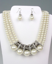 ELEGANT Dressy Creme Pearls SILVER Crystals Bridal Drape Necklace Earrin... - $26.99