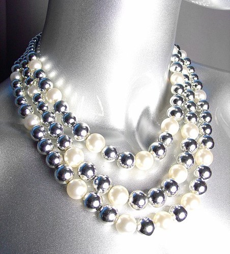 Primary image for ELEGANT Layered Creme Pearls Silver Beads Drape Necklace Earrings Set