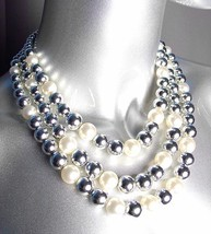 ELEGANT Layered Creme Pearls Silver Beads Drape Necklace Earrings Set - $15.99