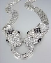 EXQUISITE Silver Pav'e CZ Crystals Snake Mesh Chains Necklace - €24,69 EUR