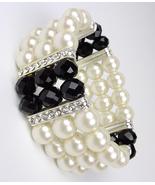 Elegant Boutique Creme Pearls Black Crystals Stretch Bracelet - $15.99