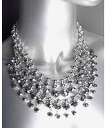 GLITZY Smoky Silver Hematite Czech Crystals Bib Drape Necklace Set - $39.99
