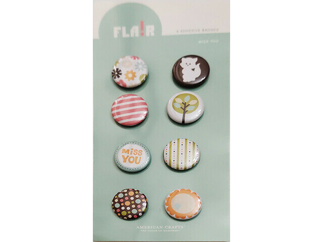 American Crafts Blue Skies Flair Miss You Adhesive Badges (Stickers), 8 Count