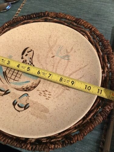 RED WING POTTERY BOB WHITE Blue Quail Bird Dinner Plate (2 available) EXCELLENT image 3