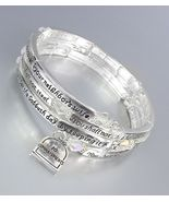 Inspirational Silver Twist Wire Wrap 10 COMMANDMENTS Crystals Charms Bra... - $26.99
