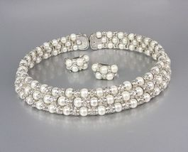 LUXURIOUS Off White Pearls CZ Crystals Choker Necklace Set Bridal Wedding - $45.99