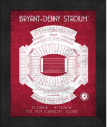 "Alabama Bryant-Denny ""Retro"" Stadium Seating Chart 13x16 Framed Print  - $39.95"