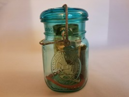 """Vintage Ball Green Bicentennial Eagle 5"""" Tall with Locking Lid & Papers - $8.86"""
