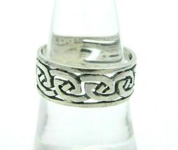 Irish Celtic Knot Celtic .925 Sterling Silver Band Ring 8 Vintage - $29.69