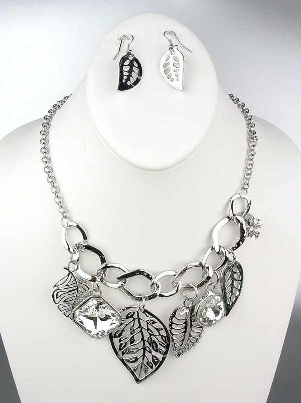 Primary image for NATURAL Style Silver Metal Leaves Leaf CZ Crystals Charms Necklace Earrings Set