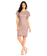 Adrianna Papell Beaded Cocktail Dress with Flutter Sleeves - $149.99