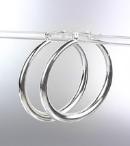 "NEW Silver Plated Metal 1"" Diameter Hoop Earrings - $6.99"