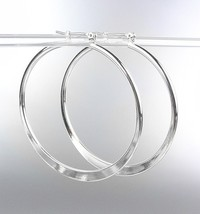 "NEW Silver Plated Metal 2 1/8"" Flat Hoop Earrings - $8.99"