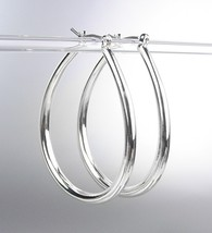 "NEW Silver Plated Metal Tear Drop 1 1/2"" Long Hoop Earrings - $9.99"