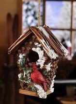 "10"" Cardinal Design Snowy Birdhouse Polystone NEW"