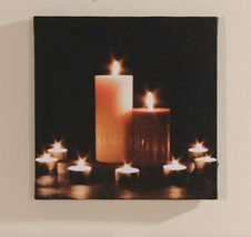 "11.8"" x 11.8"" Candles & Tealights Framed Canvas with LED Lighting  - NEW"