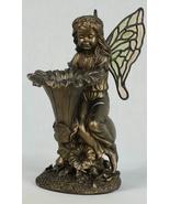 """11"""" Garden Fairy with Fluted Flower Birdfeeder Bronzed Look  - $41.71"""