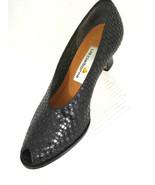 Liz Claiborne Womens 7M Black Weave Leather Peep Toe High Heel Classic P... - $18.66