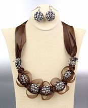 SPARKLE Brown Satin Antique Rhinestone Balls Crystals Tulle Necklace Set - €16,17 EUR