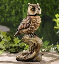 "13.5"" Owl Statue w Wobbling Head Brown Polyresin NEW"