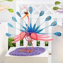 "13"" Metal Zany Bird Peacock Garden Figurine Colorful Metal Cartoon Freestanding image 3"