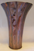 "13"" Flared Vase Crumpled Look Copper Color Metal NEW"