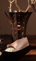 "13"" Flared Vase Crumpled Look Copper Color Metal image 2"