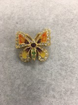 Signed Joan Rivers Gold Tone Multicolored Rhinestones Pave Butterfly Bro... - $49.49