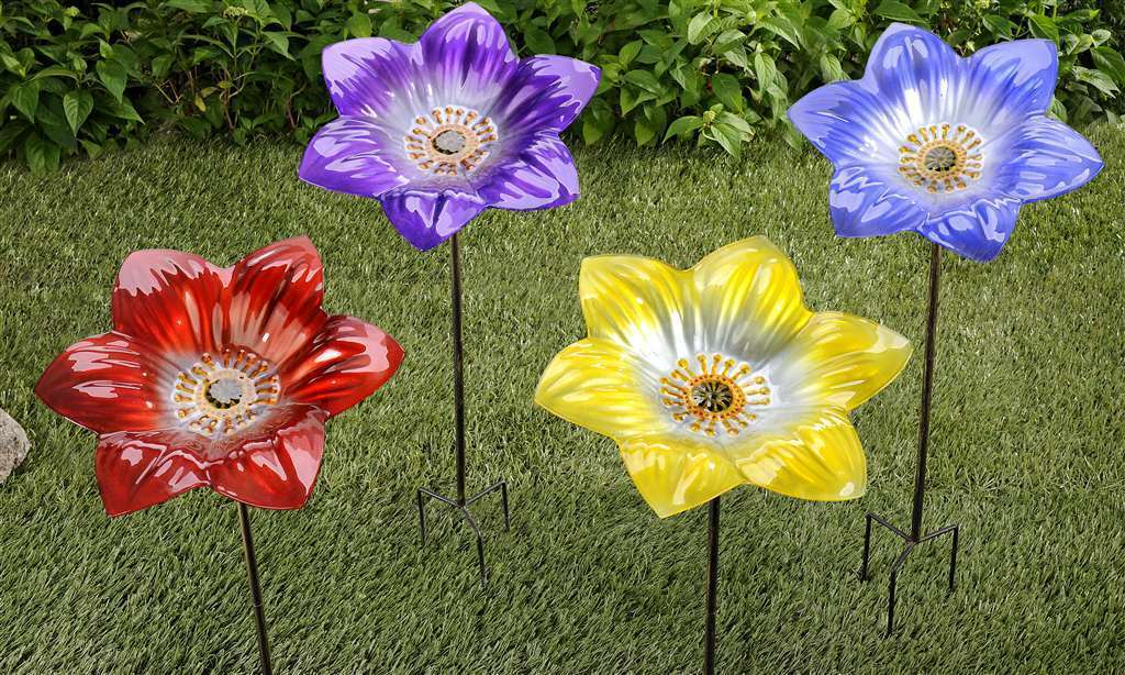 "13"" Flower Birdbath with Garden Stake Glass 4 Bright Colors"