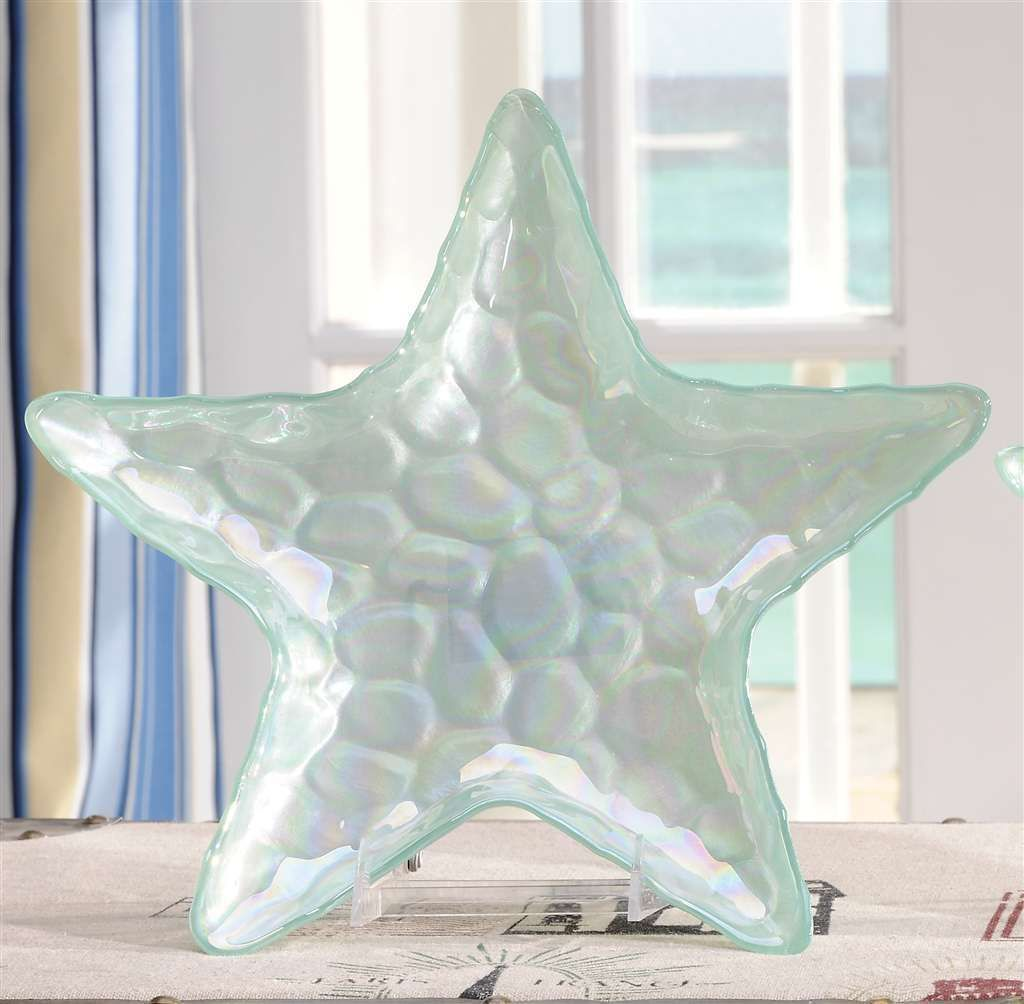 "13"" Starfish Design Plate Pearlized Light Green Colored Glass Decorative NEW"