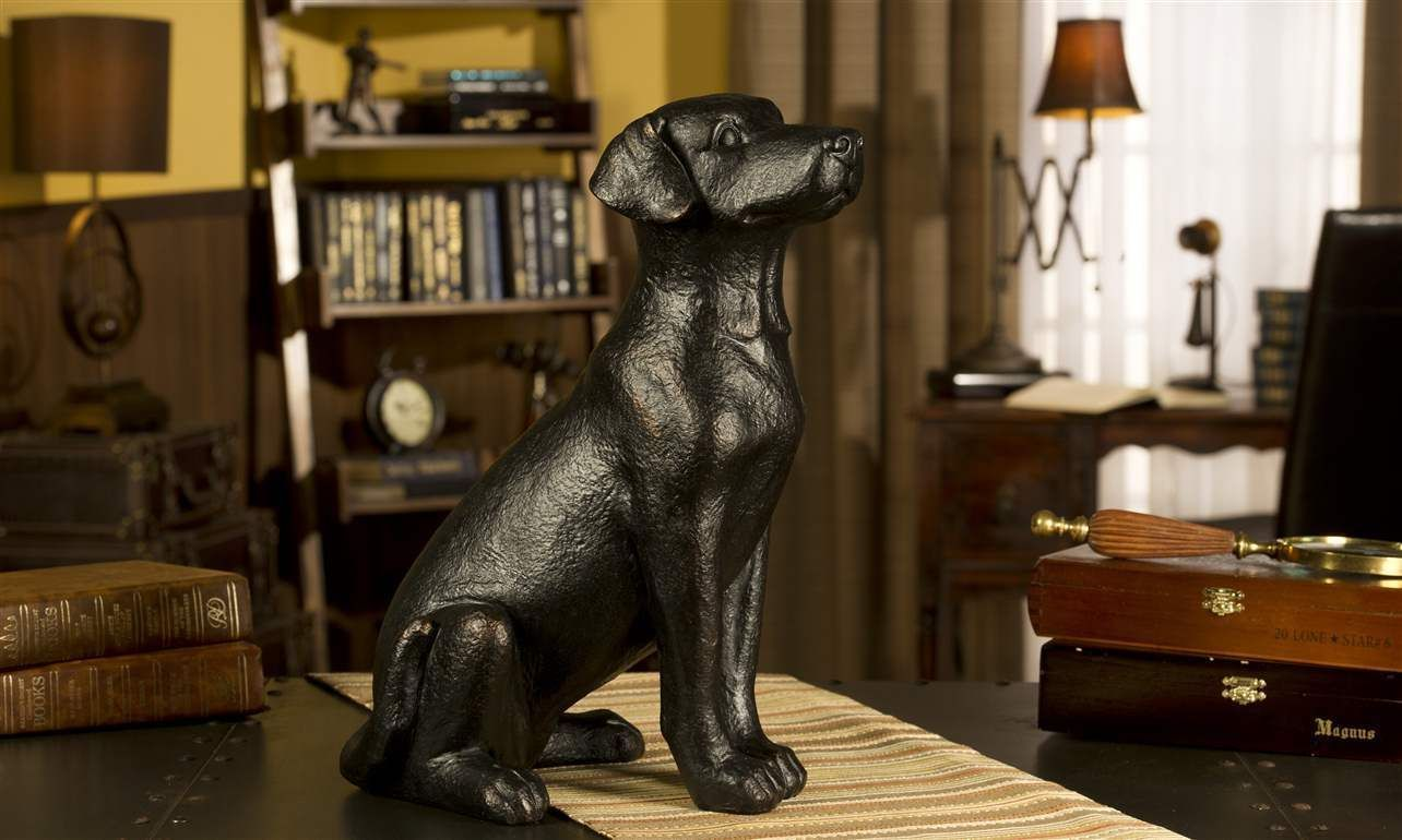 "15.7"" Black Dog Sitting Statue Figurine Polystone Home Decor Giftcraft NEW"