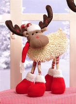 "16"" Soft Woolen Reindeer Figurine Freestanding Wire Legs"