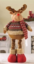 "16"" Soft Woolen Reindeer Figurine that stretches to a Height of 24"""