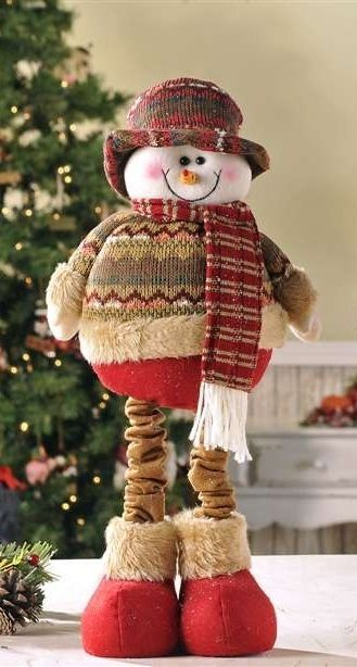 "16"" Soft Woolen Snowman Figurine that stretches to a Height of 24"""