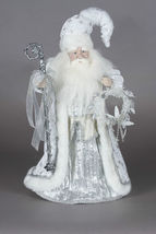 "16"" White & Silver Santa w Staff & Wreath Realistic features NEW"