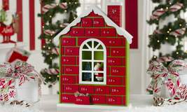 "16""  Wooden Advent Christmas Calendar House Red - $55.43"