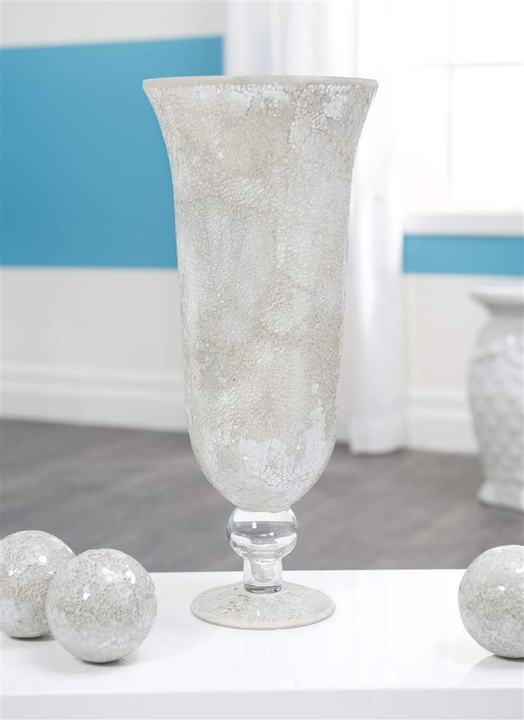 "17.5"" Glass Mosaic White Vase  NEW"
