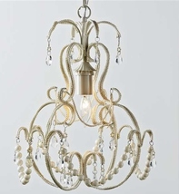 "17.9"" Chandelier with White Beads - 70"" Chain - Iron, Copper & Painted Glass NEW"