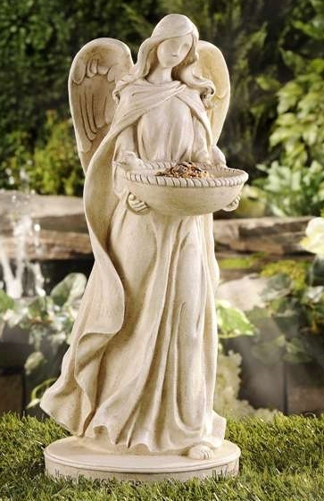 "18.7"" Angel Statue Birdfeeder Polystone White NEW"