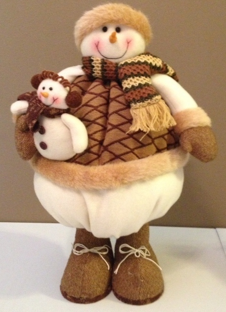 "18"" Soft Round Snowman Figurine NEW"