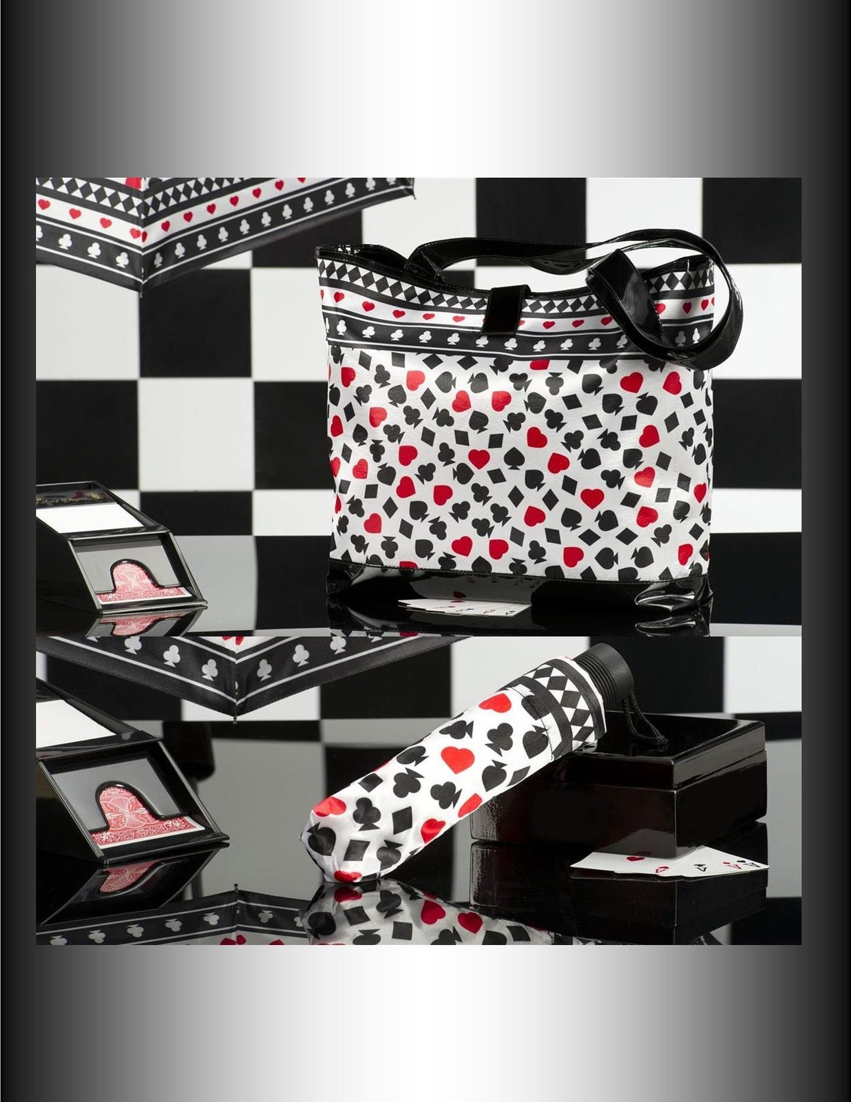 "2 pc Set  - 18"" Tote with Matching 10"" Compact Umbrella - 4 Designs Casino Cards"