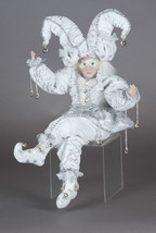 "18"" White & Silver Sitting Jester w posable Arms & Legs Realistic features NEW"