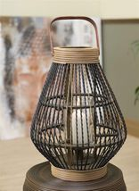 "18"" Zen Candle Lantern with Handle - Bamboo & Rattan With Glass Sleeve  NEW"