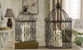 "19"" & 16"" Bird Cage Metal Plant Holders Set of 2 Black NEW"