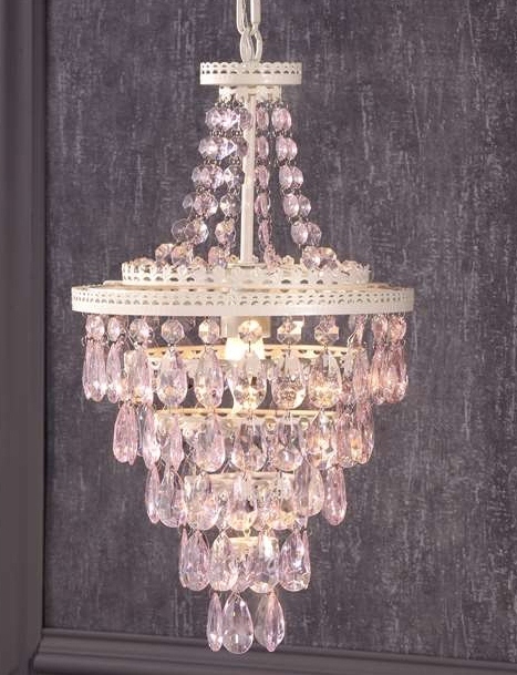 "19.7"" Giftcraft Pink Design Chandelier White Iron & Copper w Pink Acrylic Beads"