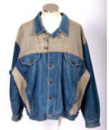 Vtg 1990s Jean Jacket Tan Blue Denim Southwest Flannel Lined Trucker Men... - $24.74