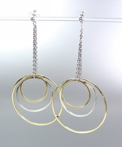 Primary image for Sex and the City Style Silver Gold Metal Rings Drape Dangle Earrings