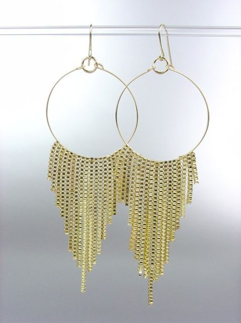 Primary image for Sexy Basketball Wives Style Gold Metal Box Chains Ring Dangle Earrings