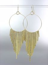 Sexy Basketball Wives Style Gold Metal Box Chains Ring Dangle Earrings - $9.99